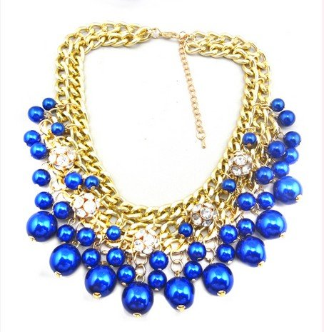 Wiipu blue Rhinestone Layered Cluster Ball Beads Drop Chunky Statement Bib Necklace(wp-38)