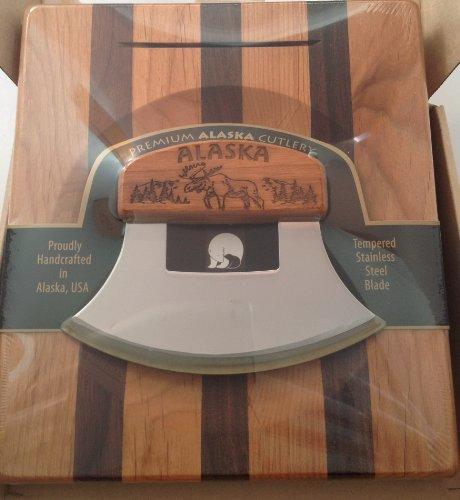 Made in Alaska Ulu Birch/ Walnut Stripe Chopping Bowl Set Engraved Moose Ulu Knife