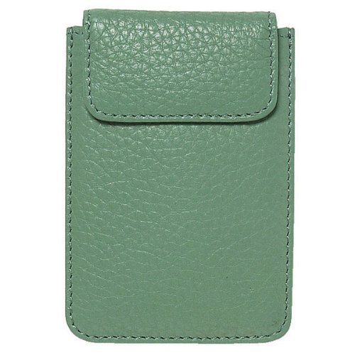 World of Journals Nappa Leather Card Case, 2.875 x 4.5-Inches, Dusty Green (35872)