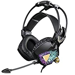 SADES SA913 Lightweight PC Gaming Headset USB Stereo Surround Sound Over Ear Headphones with Microphone Vibration Volume Controller Multi-Color LED light for Gamers(Black)