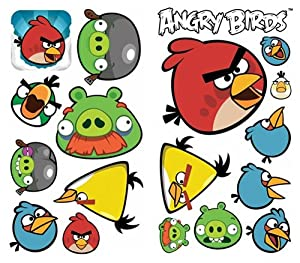 Mattel angry birds peel stick wall decals for Angry birds wall mural