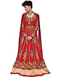 Stylelok Red Georgette Anarkali Suits Sl 71295