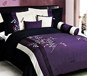 7 pc modern purple black embroidered