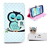 Vandot 2 in1 Accessory Set 3D Leather Case Little Owl Flip Case Polka Dot Case Flower Cover fairytale Stand Case for Samsung Galaxy S3 S III I9300 by credit card Card Wallet hole Handmade Book Hybrid wallet Sweet Animals Cartoon Wood + Luxury Bling Glitter Diamond Crystal Owl Animals anti-dust stopper plug – White Green Yellow Black by NYC Leather Factory Outlet