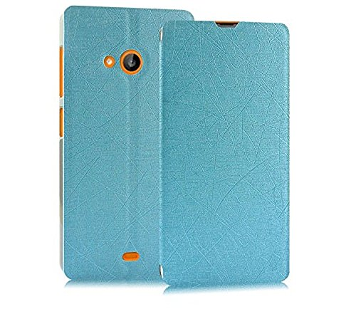Heartly Premium Luxury PU Leather Flip Stand Back Case Cover For Microsoft Nokia Lumia 535 Dual Sim - Power Blue