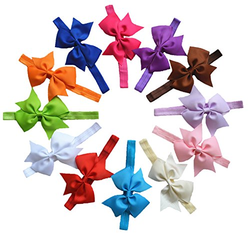 Qandsweet Baby Girl Headbands with Forked Tail Bows (Mixed 12 Colors)