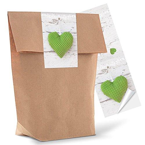 10 braune geschenkt ten papiert ten inkl aufkleber sticker gr nes herzerl t tengr e 14 x. Black Bedroom Furniture Sets. Home Design Ideas