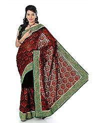 Designersareez Women Chiffon Embroidered Black Saree With Unstitched Blouse(1374)