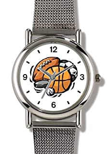 buy Basketball, Baseball, Football, Soccer Ball, Golf Ball, Puck - Watchbuddy® Elite Chrome-Plated Metal Alloy Watch With Metal Mesh Strap-Size-Small ( Children'S Size - Boy'S Size & Girl'S Size )