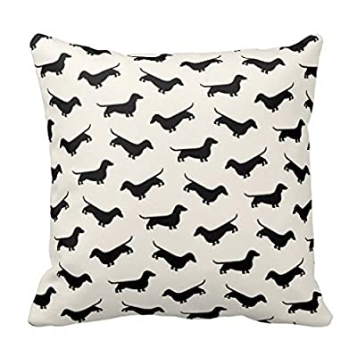 Dachshund Weiner Dog Pattern in Black Throw Pillow Cover