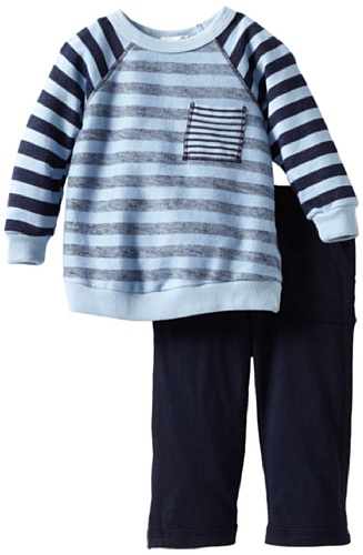 Best Splendid Littles Baby-Boys Newborn Navy Stripe Active Sweatshirt Set, Sky, 6-12 Months