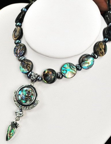 Natural Abalone Shell,Pearl XL Pendant Silver Necklace N10_0928_40