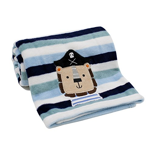 Lambs & Ivy Little Pirates Coral Fleece Blanket