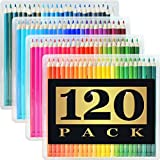 120 Colored Pencils (GIANT EXTRA LARGE SET) - 120 Unique Colors (NO DUPLICATES) - Premium Grade & Pre-Sharpened - Color Coordinating Barrels - Perfect for Kids, Art School Students, or Professionals!