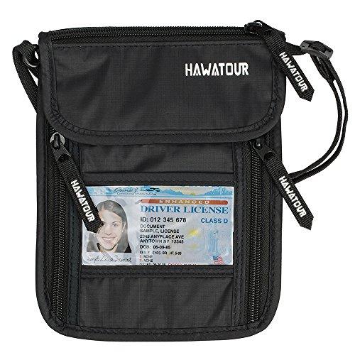 Hawatour Neck Passport Holder Pouch Rfid Blocking Ticket