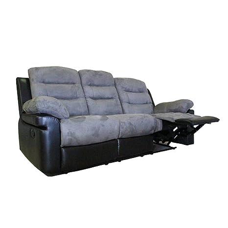 Moloo Canapé 3 places relax Microfibre Gris / Noir Toronto 203 x 95 x 98 cm