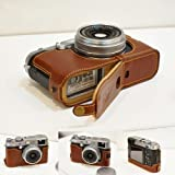 Handmade Genuine real Leather Half Camera Case bag cover for FUJIFILM X100S X100 Brown Bottom opening Version