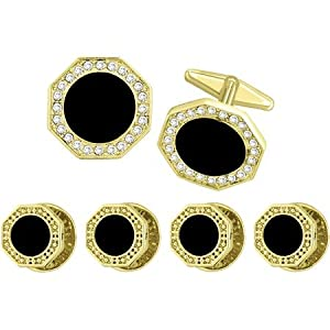 Gold Octagonal CV Cufflink and Stud Set with Round OnyxCenter