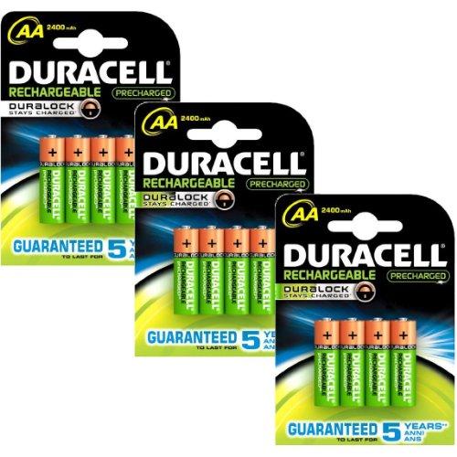 piles rechargeables duracell aa pack de 12 piles rechargeables pr charg es 2400 mah. Black Bedroom Furniture Sets. Home Design Ideas