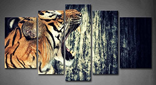 5 Panel Wall Art Tiger Against Grunge Concrete Wall Painting Pictures Print On Canvas Animal The Picture For Home Modern Decoration Piece (Stretched By Wooden Frame,Ready To Hang)