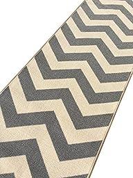 Custom Size Grey Chevron Zig Zag Rubber Backed Non-Slip Hallway Stair Runner Rug Carpet 22 inch Wide Choose Your Length 22in X 14ft