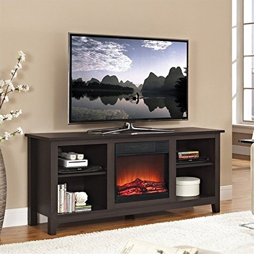 Walker Edison TV Stand with Fireplace Flyer, Espresso, 58""