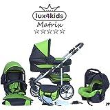Chilly Kids Matrix II Cochecito de bebé combinado 3 en 1 - Cochecito de bebé y silla de paseo (protección contra la lluvia, mosquitero, adaptador de asiento de coche, ruedas giratorias, 62 colores)