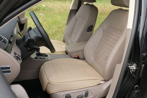 EDEALYN New (M)W 52 xL 53cm car cover interior faux Leather Soft Car seat cover seat cushion for Car ,1pcs (Beige-F) (Faux Leather Auto Seat Covers compare prices)