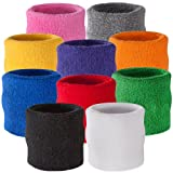 Suddora Wrist Sweatband - Athletic Cotton Terry Cloth Wristband for Sports (Black)
