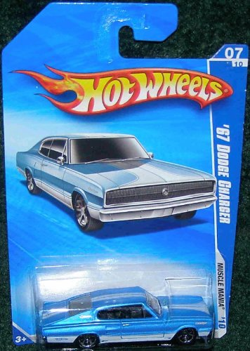 HOT WHEELS 2010 MUSCLE MANIA 07 OF 10 BLUE OVER WHITE '67 DODGE CHARGER - 1