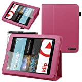 BIRUGEAR SlimBook Leather Folio Stand Case w/ Keyboard Screen Protector for Nextbook Premium 8HD (NX008HD8G) - 8