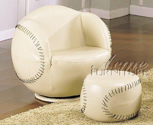 2pc Kid's Baseball Swivel Chair and Ottoman Set