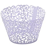 Top Plaza 100pcs Flower Vine Filigree Lace Cutout Cupcake Wrappers Wraps Liners Wedding Party Cake Decoartion (Purple)