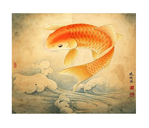 Ink wash giclee prints chinese feng shui koi fish painting for Koi meaning in english