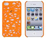 NiceEshop(TM) Orange Interwove Line Bird's Nest style slim Snap on Hard cover case fit for iphone 4 4G 4S+Free Screen Protector +Free niceEshop Cable Tie