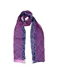 Banna Purple And Pink Organza Dupatta With Kantha Embroidery - Purple