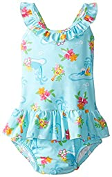 i play. Baby Girls\' Classics Ultimate Swim Diaper Ruffle Tanksuit, Aqua, Small/6 Months