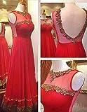 Isha Enterprise Women's Net Red Thread Work, Hand Work, Sequence Work Gown