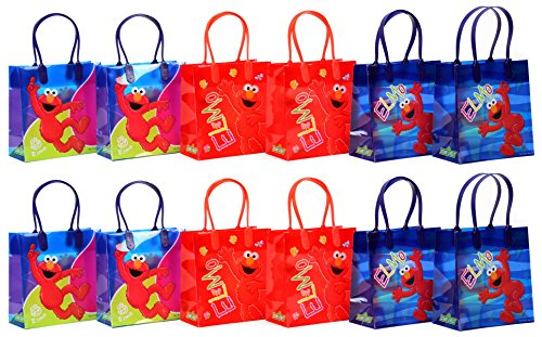 "Sesame Street Elmo Party Favor Goodie Gift Bag - 6"" Small Size (12 Packs)"