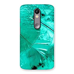 Cyan Feather Back Case Cover for Moto X Force