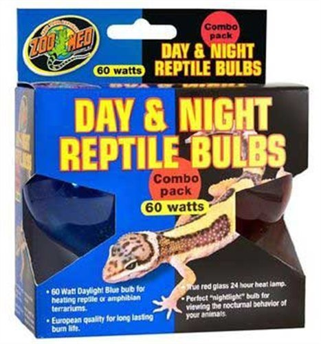 Zoo Med Day and Night Reptile 60 Watt Bulbs, Combo Pack