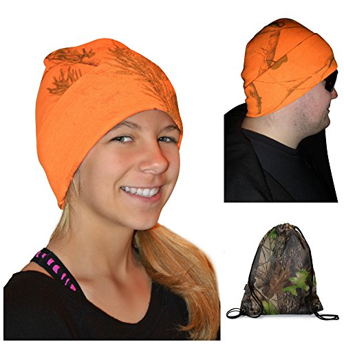 Learn More About Realtree Blaze Beanie Cap, Adult LIGHTWEIGHT Cuffed Hat +Reuseable Mini Tote