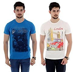 French Twins 2 pcs of Cotton Casual Half Sleeves T-shirt with Graphic Print- White/Blue