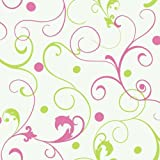 York Wallcoverings PW4059 Girl Power 2 Scroll With Dots Wallpaper, White Background/Pink/Lime Reviews