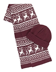 Blue Harbour Reindeer Scarf & Hat Set with Wool