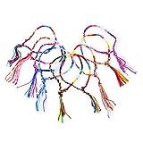 【9個セット 】 ミサンガ ブレスレット アンクレット お守り メンズ レディース 簡単 ブレスレット ミックスカラー 織りブレスレット 8-9.5インチ プレゼント 友情のため