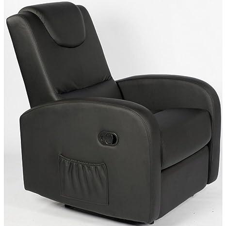 Relaxsessel PARIS, manuelle Sitzneigung, Bezug aus schwarzem Kunstleder