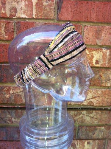 Inspirit Arts Small Earthtone Headband Expandable Handwoven Open Net Weave Lightweight Bandana Headwrap Elastic 100% Cotton Hair Scarf front-594711