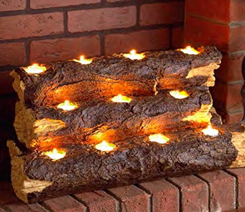 Wildon Home Tealight Contemporary Decorative Fireplace Log Insert - The Perfect Fireplace Accessory You Will Ever Have! This Wood Fireplace Insert Has an Amazing Handcrafted Resin Log Sculpture. This Freestanding Fireplace Insert Is a Great No Fuss Alternative to Lighting a Fire. Great for Home Fireplaces, Condos, Townhouses and Apartment Fireplaces (Resin Fireplace Logs compare prices)