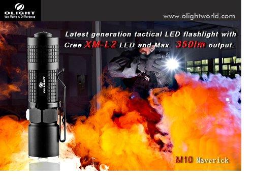 Olight M10 Maverick 350 Lumens Tactical Edc Flashlight And Powertac Slim Off Set Weapon Mount Bundle